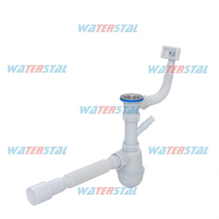 Сифон «Waterstal» 1 ½ 40 с отводом, переливом, гибкой трубой